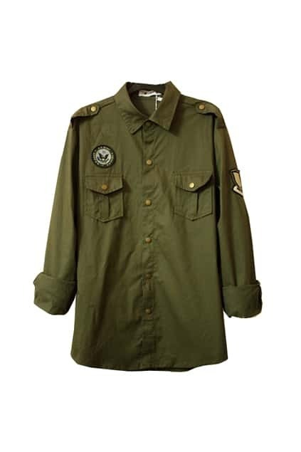 Brass Button Medal Army Green Shirt