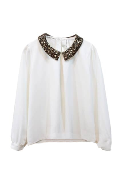 Paillette Embellished White Shirt