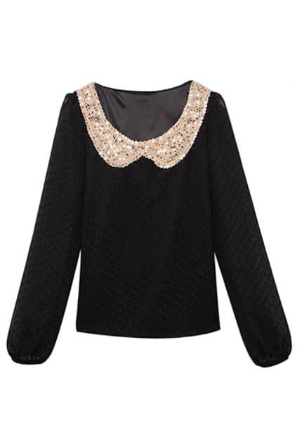 Peter Pan Collar Black Shirt