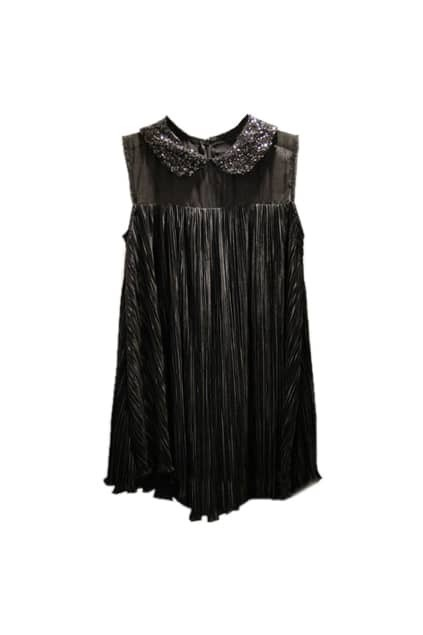 Sleeveless Paillette Embellished Black Shirt