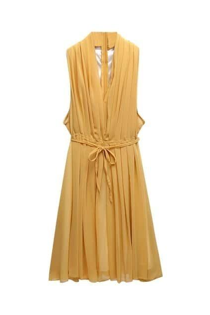 Bouffancy Deep V-neckline Yellow Dress