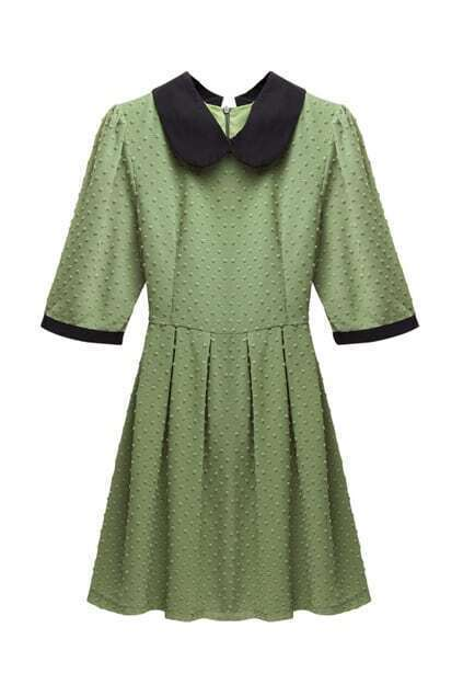 Jacquard Detailed Navy Green Shift Dress