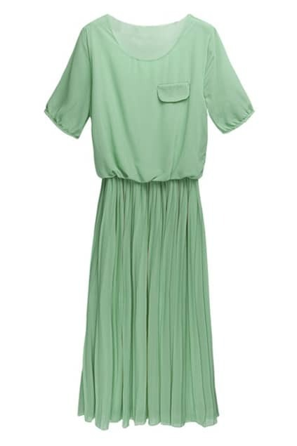Pure Green Pleated Shift Dress