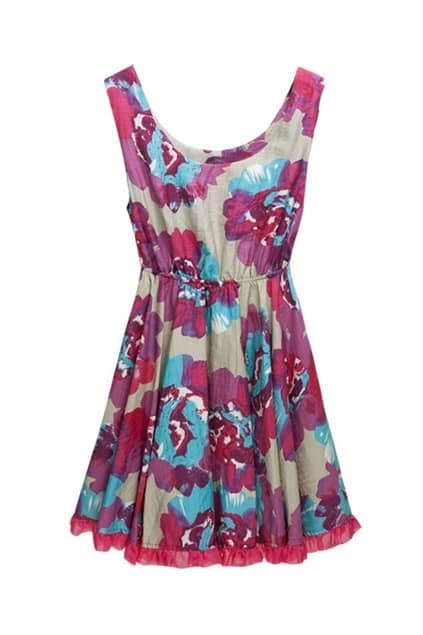 Floral Print Purple Tank Dress