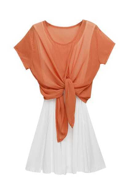 Self-tie Front Orange Twin-set Dress