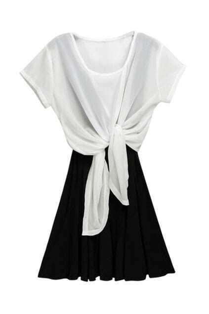 Self-tie Front Black-white Shift Dress