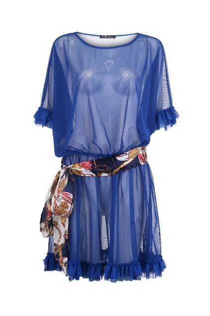 Chain Belt Detailed Blue Netted Dress