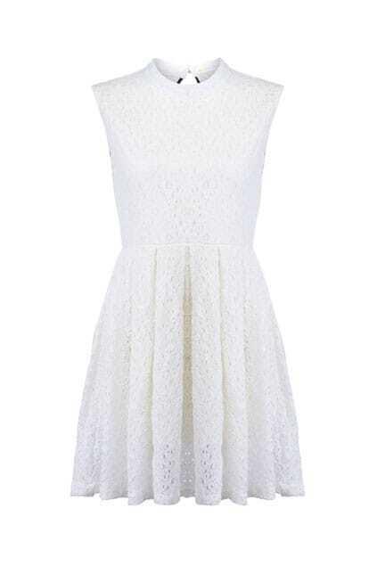 Cut-out Back Cream Shift Dress