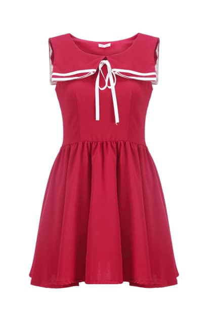 Nautical Stripe Collar Red Shift Dress