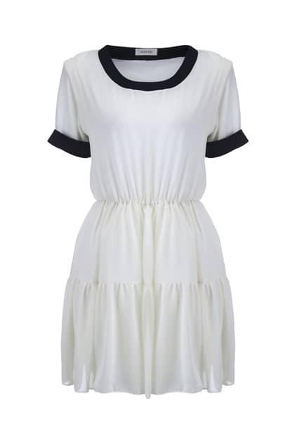 Color Block White Shift Dress