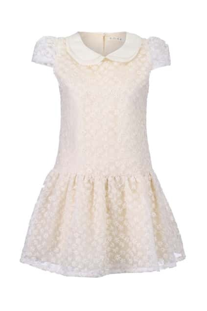 Embroidered Cream Shift Dress