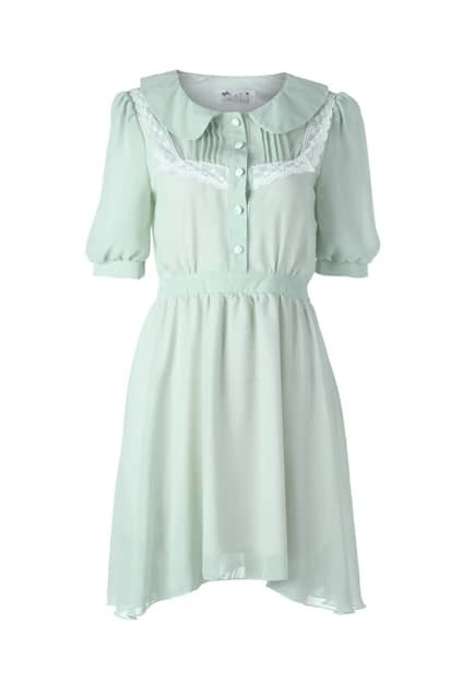 Lace Detailed Green Shift Dress