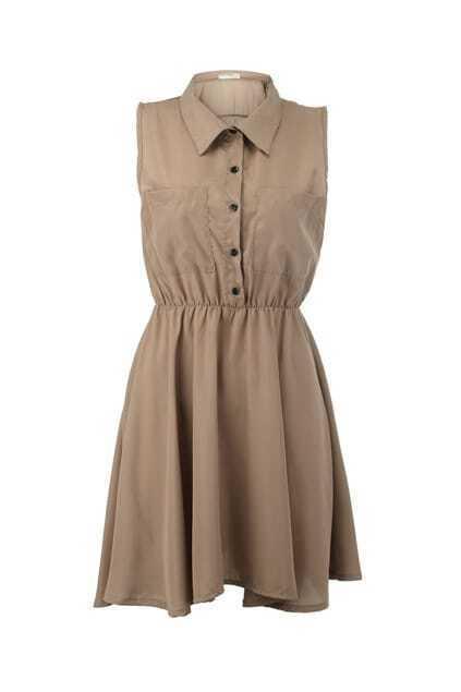 Twin Patch Pockets Shirt Dress