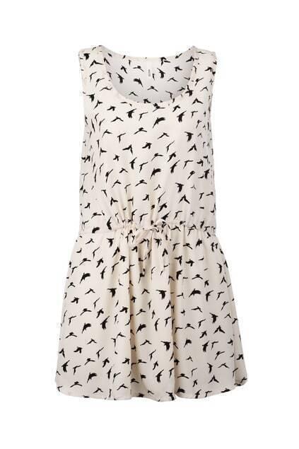 Birds Print Drawstring Detailed Tank Dress