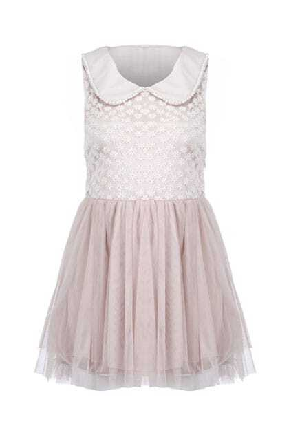 Floral Lace Upper Pink Dress