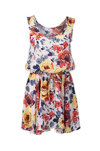 Floral Print Drawstring Detailed Dress