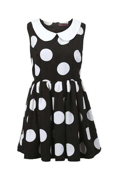 Block Dots Peter Pan Collar Dress