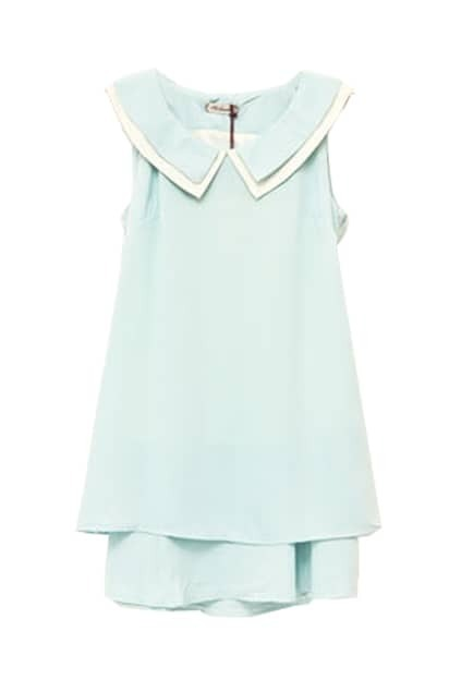 Bowknot Sleeveless Blue Dress