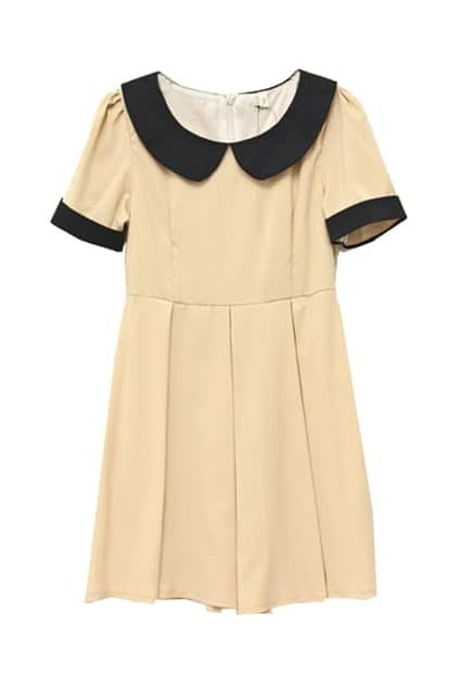 Retro Collar Short Sleeve Apricot Dress