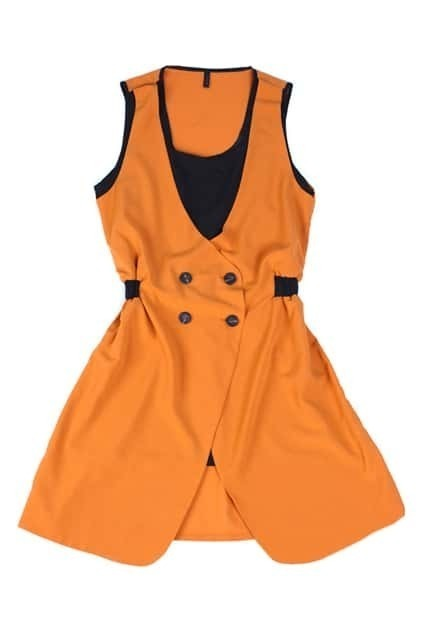 Fake Twin-set Slim Orange Dress