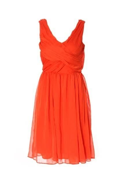 V-neckline Sleeveless Orange Dress