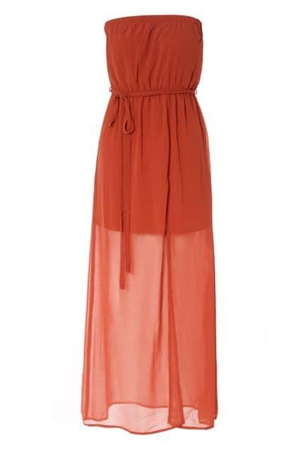 Retro Elegant Longline Orange Dress