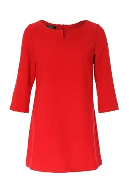 Retro Half Sleeve Red Dress
