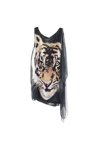 Asymmetrical Design Tiger Head Black Dress