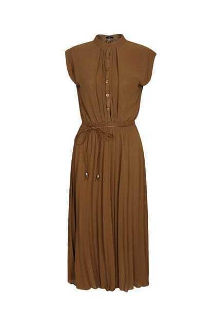 High Controlled Waist Brown Dress