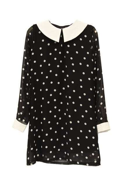 Retro Collar Dots Black Dress