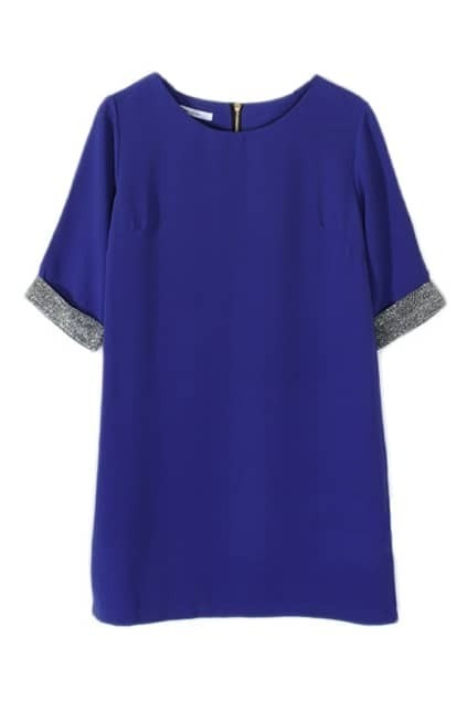 Silver-tone Sleeves Blue Shift Dress