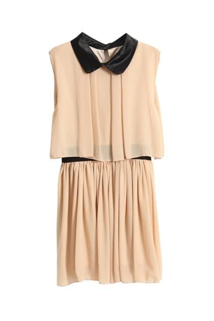 Peter Pan Collar Dark-apricot Dress