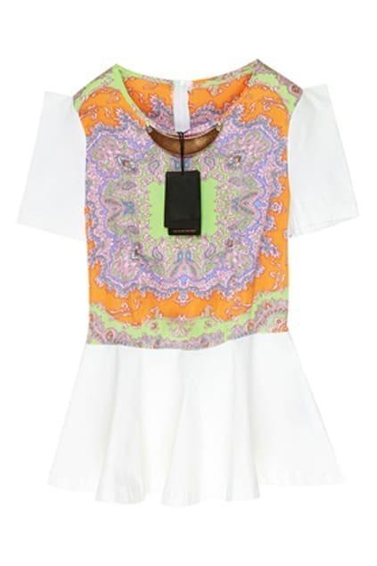 Scarf Print Orange Shift Dress