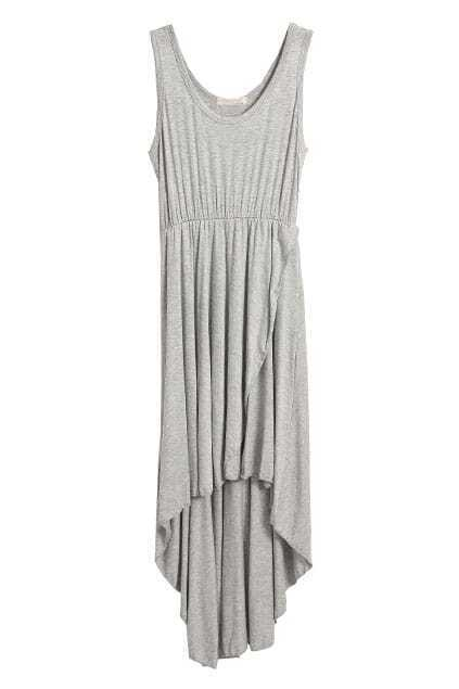 Cut Sleeveless Light-grey Dress