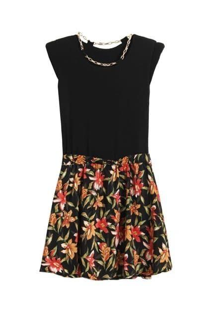 Shoulder Pads Flower Hem Black Dress