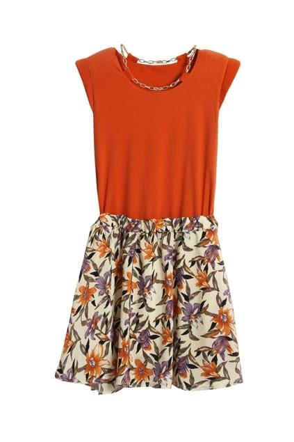 Shoulder Pads Flower Hem Orange Dress