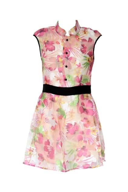 Flower Printed High Waist Pink Dress