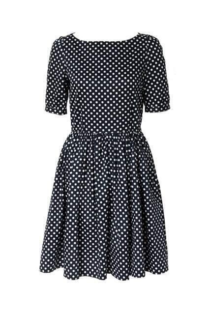 Dots Printed Navy Blue Dress