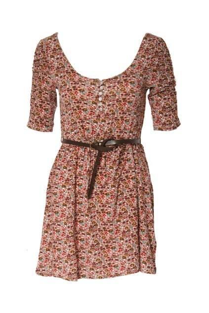 Floral Printed Contrast Belt Dress