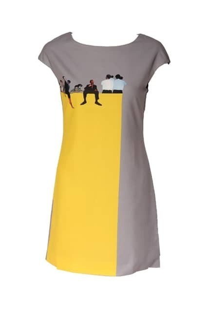 Montage Yellow Character Printed Grey Dress