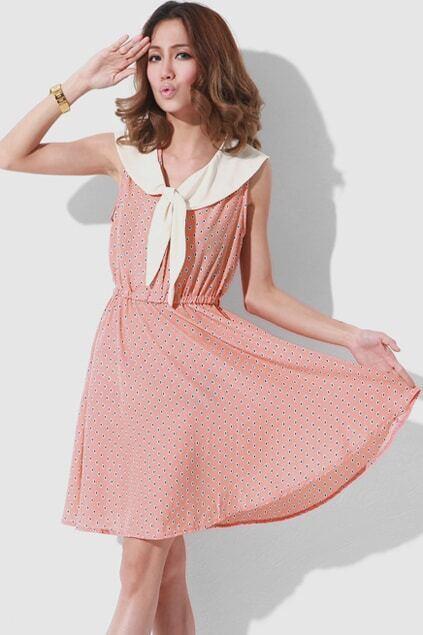 Contrast Sailor Collar Pink Dress