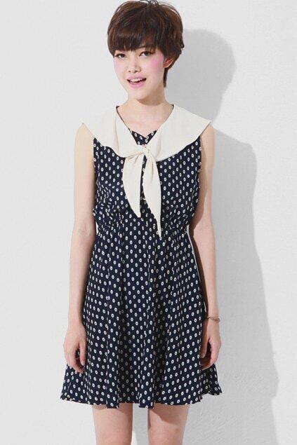 Contrast Sailor Collar Dark Blue Dress