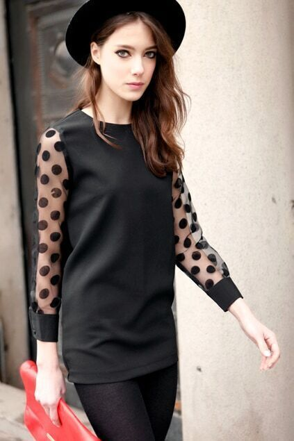Sheer Sleeves Black Shift Dress