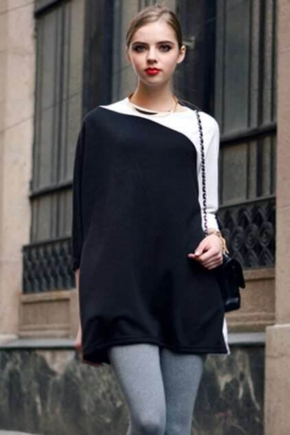 Cropped Sleeves Montage White Black Dress