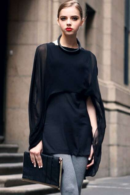 Cape Style Black Dress