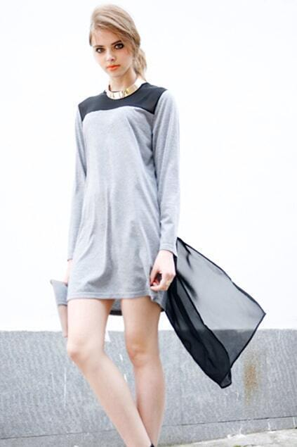 Splicing Chiffon Grey Shift Dress