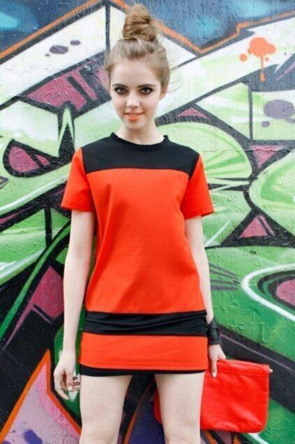 Sheer Panel Detailed Red Shift Dress