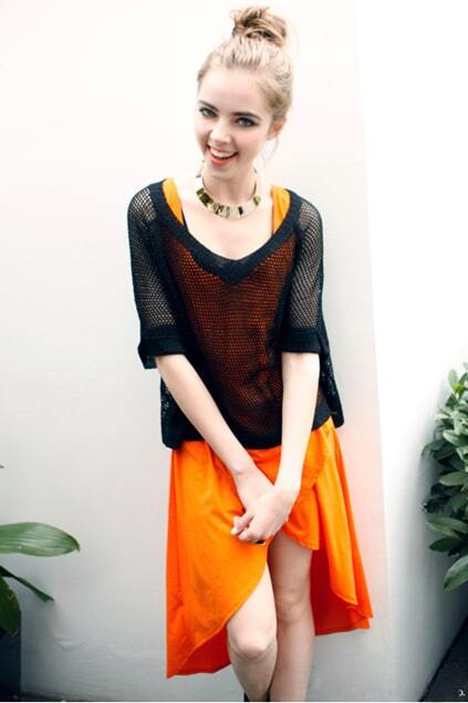 Crossed Design Orange Tank Dress