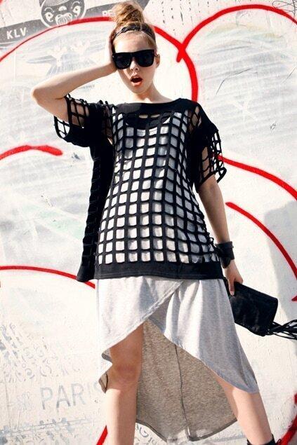 Crossed Design Grey Tank Dress