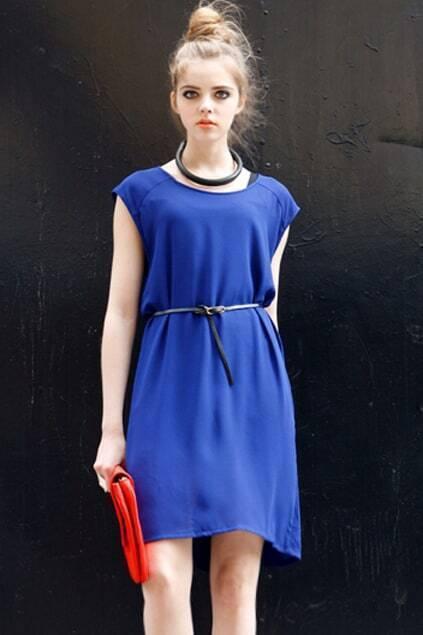 Belt Detailed Blue Shift Dress